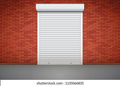 Closed Roller Shutters Door on red brick wall. Protect System Equipment. White color. Vector Illustration isolated on background.