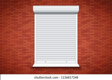 Closed Roller Shutters Window on red brick wall. Protect System Equipment. White color. Vector Illustration isolated on background.