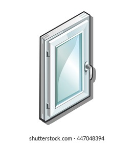 A closed sash plastic window isolated on a white background. Construction and finishing materials. Vector illustration.