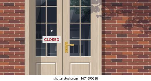 closed sign board hanging on the entrance door brick wall building facade cafe restaurant office shop vector illustration