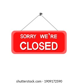 Closed sign icon on white background.