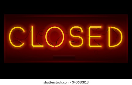 Closed sign. Realistic neon inscription. Glowing font. Vector illustration.