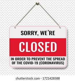 Closed Sign With Transparent Background With Gradient Mesh, Vector Illustration