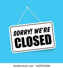Closed in signboard with a rope on transparent background. Vector