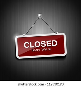 Closed signs hanging with chain, vector illustration