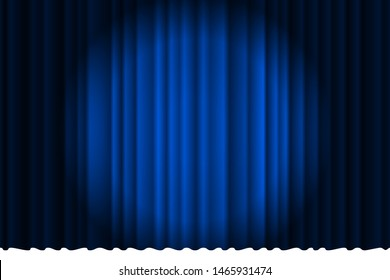Closed silky luxury blue curtain stage background spotlight beam illuminated. Theatrical drapes. Vector gradient eps illustration