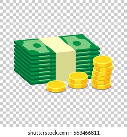 Closed small safe box and stacks of gold coins and stacks of dollar cash. Vector illustration in flat design on isolated background