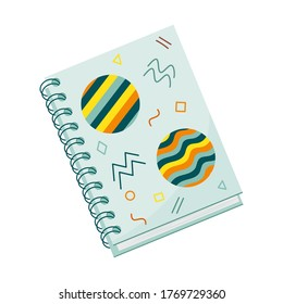 .Closed spiral notebook for notes. Flat style. Cover with abstract shapes. Stationery for writing and drawing. Color vector illustration. Element isolated on a white background.