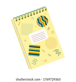 Closed spiral notebook for notes. Flat style. Cover with abstract shapes. Stationery for writing and drawing. Color vector illustration. Element isolated on a white background.