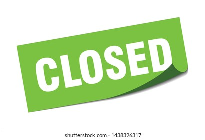 closed square sticker. closed sign. closed banner