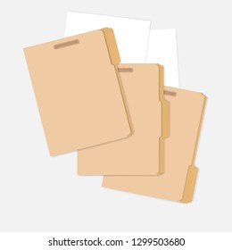Closed variously tabbed file folders with interior fastener to keep documents and white paper sheets, letter size. Vector mock-up.