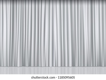 Closed white curtain background. Theatrical drapes. Vector illustration.