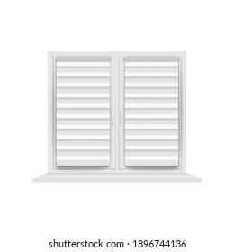 Closed window blinds with metal grey horizontal stripes - blank home privacy shutter design mockup isolated on white background - realistic vector illustration.