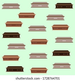 Closed wooden coffins. Coffin illustration vector