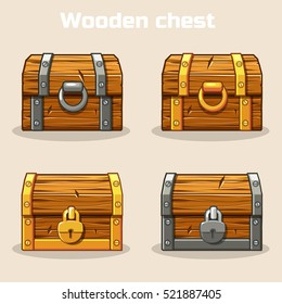 Closed wooden treasure chest, gold and silver lock