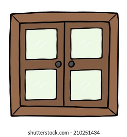 closed wooden window / cartoon vector and illustration, hand drawn style, isolated on white background.