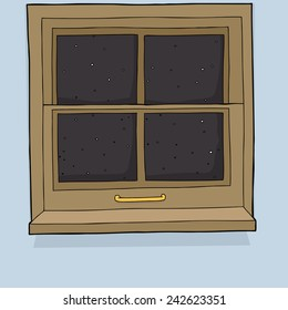 Closed wooden window with night time background
