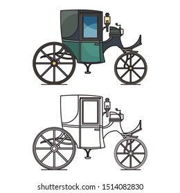 Closed XIX century automobile or electric coupe, first motor vehicle or vintage chariot, retro carriage or close steam crew. Icon of old car or stagecoach. Transportation and auto, history theme