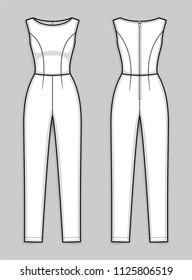 Close-fitting sleeveless jumpsuit with boat neckline, back zip clasp, ankle length tapered leg. Women's jumpsuit. Back and front. Technical flat sketch, vector.
