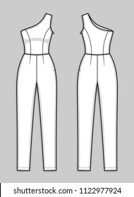 Close-fitting sleeveless one shoulder jumpsuit with asymmetrical neckline, hidden zipper in a side seam, ankle length tapered leg. Women's jumpsuit. Back and front. Technical flat sketch, vector.