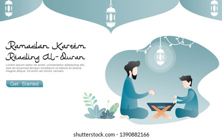 the closeness of parents (father) teaches boys to learn to read the Koran, with ramadhan lamp ornaments and plants. website design concepts, landing pages. flat cartoon illustration of ramadan kareem.