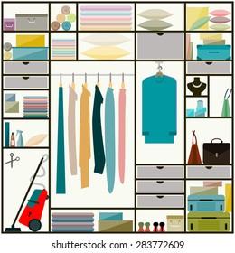 Closet. Furniture. Closet, wardrobe inside. Closet. Flat style closet, sliding-door wardrobe inside, clothes, everyday household items. Closet, clothes, everyday. Closet, clothes, everyday. Closet.
