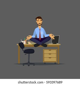 Closeup of an attractive young man with glasses meditating on the desktop. Vector illustration in a flat style.