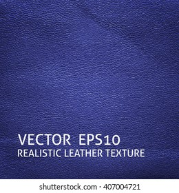 Closeup blue leather texture. Grunge vector background.