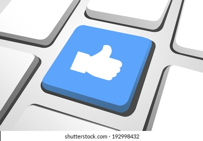 Close-up of blue thumbs up computer icon on a keyboard button.