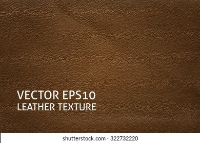 Closeup brown leather texture. Horizontal vector background.