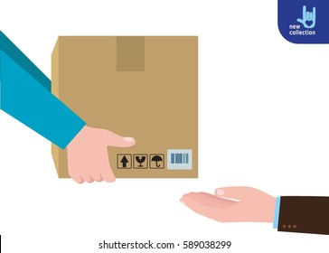 Closeup. busines man hand accepting a delivery of boxes from deliveryman Courier Hands with postal cardboard box. service concept. Vector flat cartoon design illustration. Isolated white background.