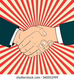 Close-up of Business People Shaking Hands. Vector Illustration in retro style.