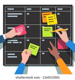 Closeup of business people team hands writing tasks and placing sticky notes on planning board. Teamwork, scrum task board iterations planning concept. Flat vector illustration isolated
