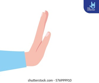 Closeup. Businessman hand stop. Symbol of break. Vector flat cartoon design illustration. no concept. Isolated on white background.