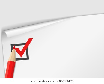 Close-up of a check list with a red pencil, vector eps10 illustration (transparent shadows)