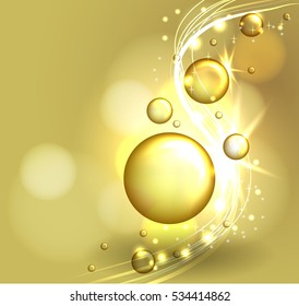 Closeup Collagen Emulsion in Water. Vector Illustration. Gold Serum Droplets. Concept for Cosmetics, Beauty and Spa Brochure or Flyer.