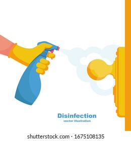 Close-up disinfection of door handles. Spraying disinfectant alcohol to the handle of a door. Vector illustration flat design. Prevention concept. Controlling the epidemic of coronavirus.