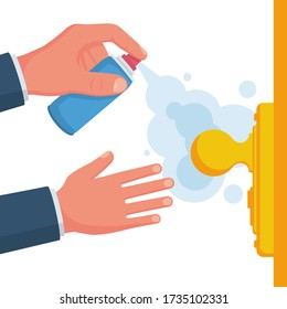 Close-up disinfection of door handles. Spraying disinfectant alcohol to the handle of a door. Vector illustration flat design. Prevention concept. Controlling the epidemic of coronavirus covid-19.