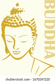 Closeup Drawing or Sketch of Lord Buddha Head and Face Vector Editable Illustration