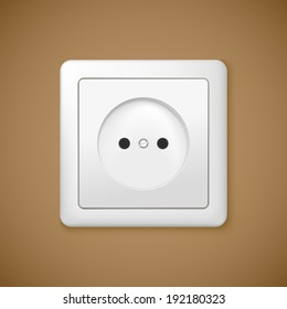 Closeup of electrical outlet. Vector socket for you design.