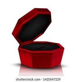 Closeup Empty Red Velvet Opened Jewelry Box Vector. Mockup Of Box For Birthday Woman Expensive Present Diamond Necklace. Compact Container For Accessory Necklace Realistic 3d Illustration