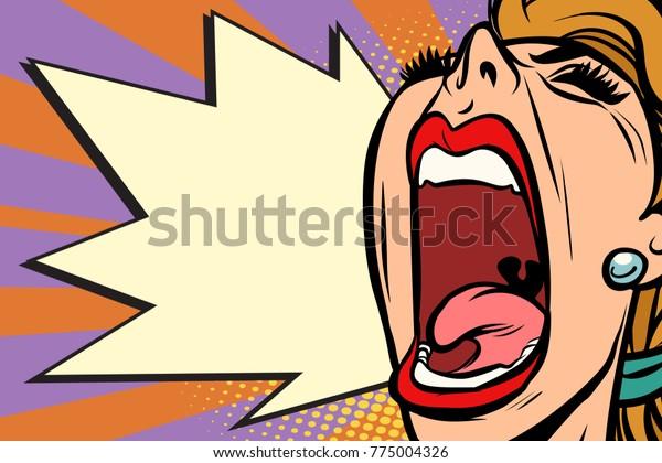 Femme pop art en gros plan hurlant de rage. Dessin d'illustration vectorielle rétro de bande dessinée