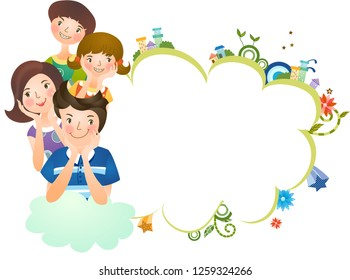 Close-up of family with thought bubble