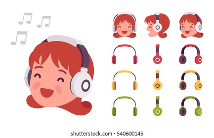 Closeup of female head in wireless on-ears headphones, her eyes closed with enjoment, listening to music, isolated from the world, very loud, resting and relxing, happy meloman. Different positions