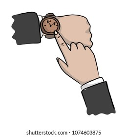 close-up hand of businessman pointing watch on his wrist vector illustration sketch doodle hand drawn with black lines isolated on white background