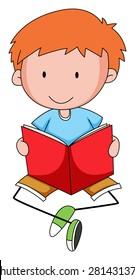 Closeup happy boy reading a book