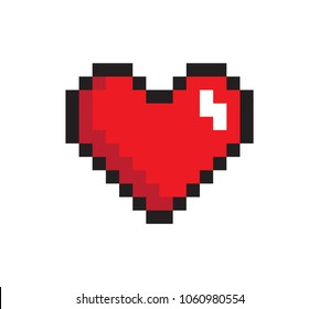 Closeup heart, pixel icon, vector illustration isolated on white background, cute red pixel logo with black frame, abstract reflection, digital image