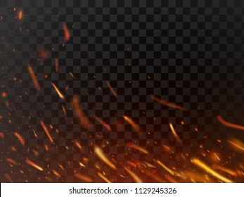 Close-up hot fiery sparkles and flame particles isolated spark. Inferno red yellow hell grill burning fire sparks and grill abstract flaming flakes wood logs light power energy dark vector background