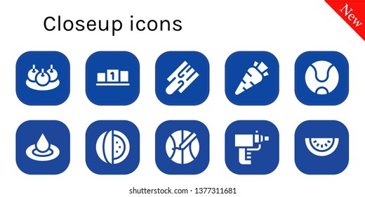closeup icon set. 10 filled closeup icons.  Simple modern icons about  - Bitterballen, Position, Cutting board, Carrot, Tennis ball, Droplet, Watermelon, Basketball, Particle gun