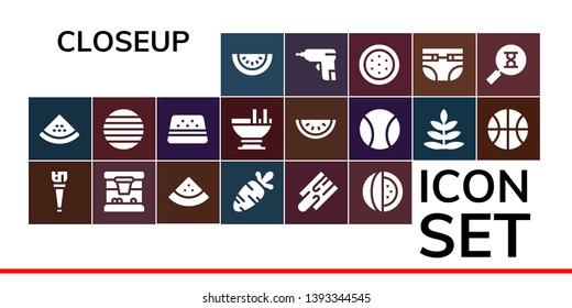closeup icon set. 19 filled closeup icons.  Simple modern icons about  - Watermelon, Wooden leg, Basketball, Carrot, Cutting board, Ball, Custard, Fern, Caulk gun, Diapers, Sandclock